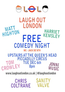 Laugh Out London Live comedy night december 6