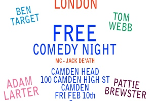 Laugh Out London comedy night February 10 at Camden Head, Camden