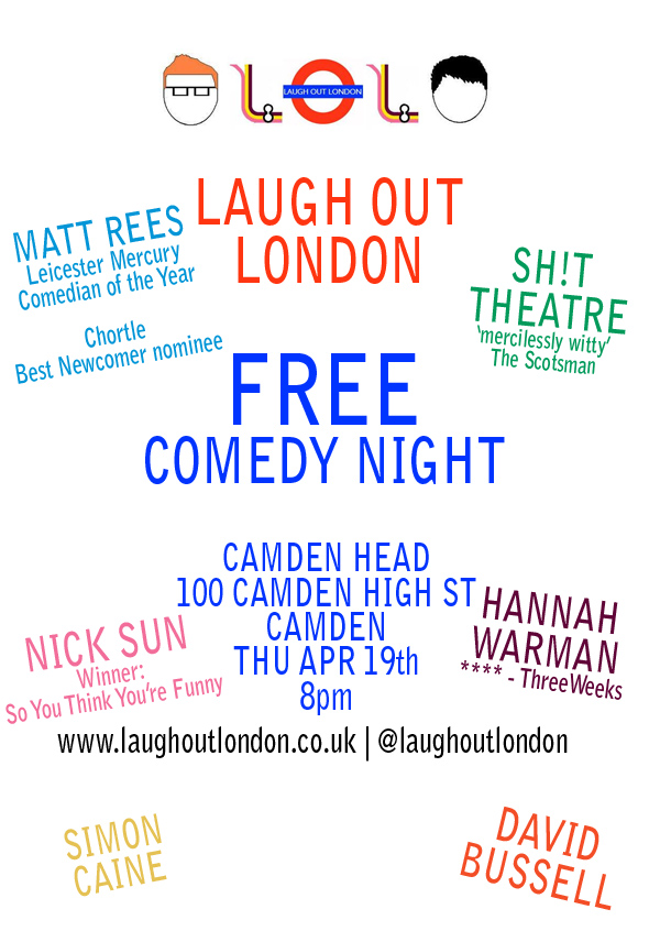 Free comedy in Camden, London on April 19