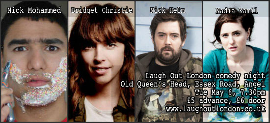 Comedy night angel London May 6 Bridget Christie Nick Helm