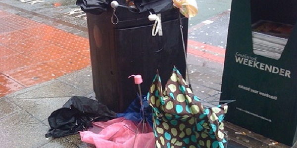 umbrella rubbish bin